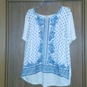 Talbots Blue Floral Top